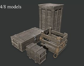 3D model Wooden Boxes set 2