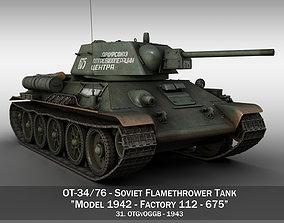 3D OT-34-76 - Soviet Flamethrower Tank - 675