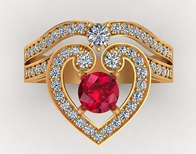 3D print model Regal Cascade Diamond Ruby Gold Ring