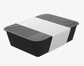 3D Plastic food container tray box with label mockup 08