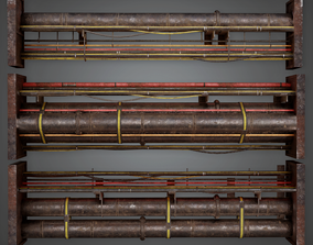 3D asset Cable and Pipe Wall Set Modular 01 - GEN - PBR 1