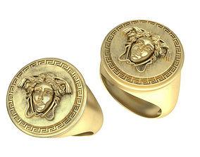 Gorgon Versace style Man signet ring 3D printable model