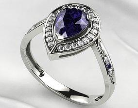 3D print model Sapphire Pear Gold Ring