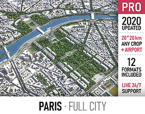 Paris - city and surroundings 3D asset low-poly