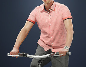 3D model Michael Smartly Dressed Man Riding His Bicycle