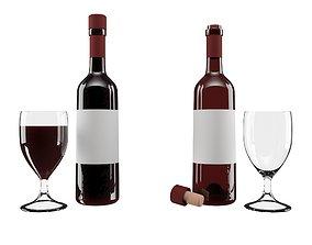 Red wine set 3D asset