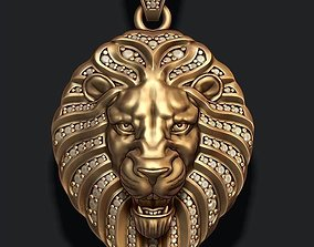 3D print model Lion pendant with diamonds and opened mouth