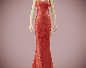 Elegant sequin silk dress 3D asset
