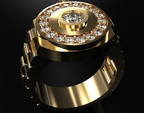 silver 3D print model Rolex Ring With Diamonds