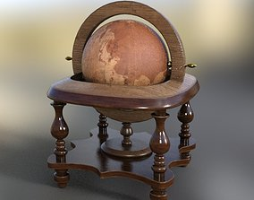 3D asset realtime Globe old pirate cabine room