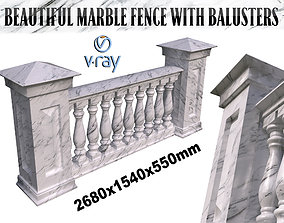 White marble fence balasins and columns 3D model