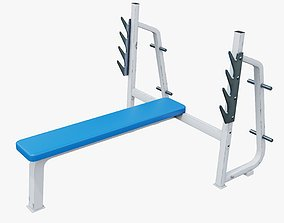 Flat Bench Press Machine - Low Poly 3D