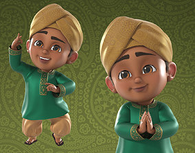 rigged Cartoon Indian and Arabic Boy 3d Model