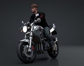 3D Sport Motorcycle with Rider Rigged C4D
