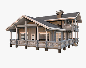 American Timber House With Terrace 3D model