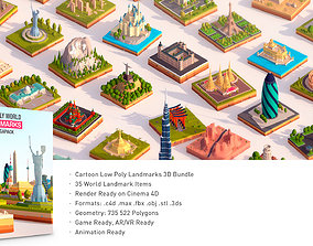 3D model Polygonia Cartoon Low Poly Landmarks Mega Pack