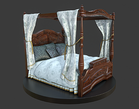 Vintage Bed With Curtains 3D model