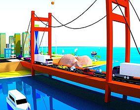 3D model low poly The diverse city