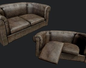 3D model Old Leather Couch PBR