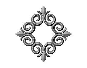 3D print model Square floral decoration element relief