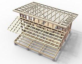 3D model Wooden frame house