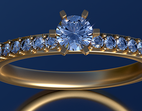 Engagement ring set 0068 3D print model apparel