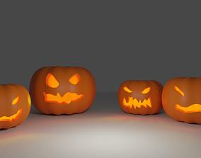 Free 4 Carved Pumpkins 3D asset