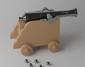 3D asset Cartoon Toy Cannon