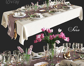 3D Table setting with flowers