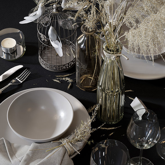 Straw Table Set