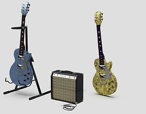 3D model Les Paul ampli and stand