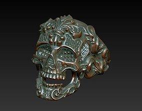 Skullring Filigree - skull ring 3D printable model