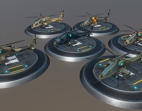 Low poly attack helicopter set 3D asset