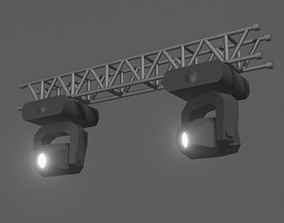 Stage Lights with Truss Beam 3D model