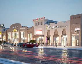 night 3D model City shopping mall