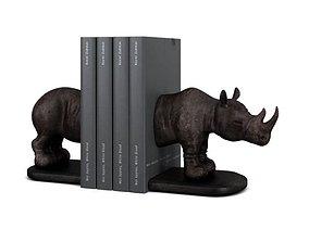 Bronze Rhinoceros Bookends 3D model