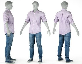 Male Casual Outfit 46 Shirt Trousers Shoes 3D model