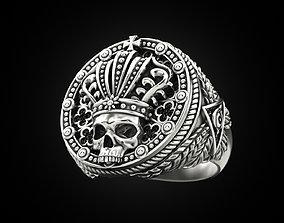 3D printable model King skull ring