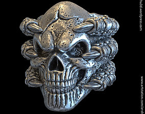rings skull with claws vol1 Ring 3D printable model