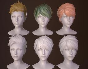 3D model man-hair style boy-head cartoon face