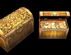 3D model Gold treasure box