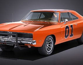 LowPoly Dodge Charger 1969 General Lee 3D model