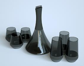 3D asset Black Carafe and Glasses