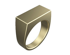 3D printable model Gents Rectangle Top Signet Ring