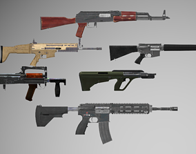 3D model Low Poly Game Ready Rifles Pack