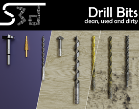 Drill Bits clean used dirty 3D model