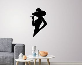 Silhouette lady profile wall Art 3D print model