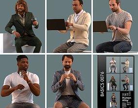 man Set of 3D men sitting in various poses