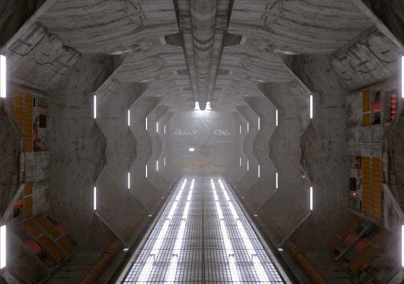 sci-fi spaceship engine room