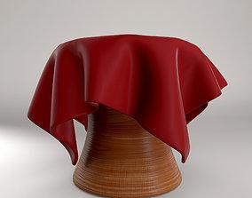 3D asset American Cherry Wooden Stool